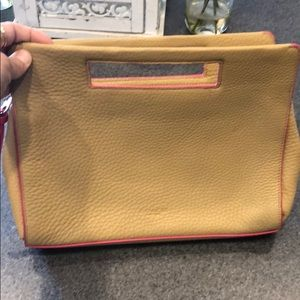 Coach clutch handbag. Brown with pink detail